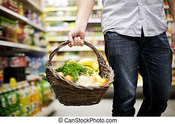 korb, gefüllt, gesundes essen