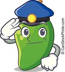 korb, grün, mango, polizei, karikaturen
