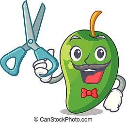 korb, herrenfriseur, mango, grün, karikaturen