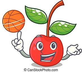 korb, kirschen, basketball, fruechte, maskottchen