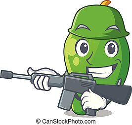 korb, mango, grün, karikaturen, armee