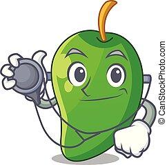 korb, mango, grün, karikaturen, doktor