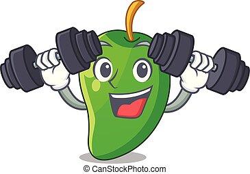 korb, mango, grün, karikaturen, fitness