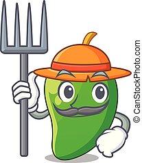 korb, mango, grün, karikaturen, landwirt