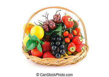 korb, mit, früchte