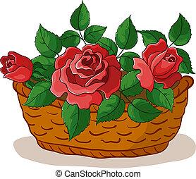 korb, mit, rosen