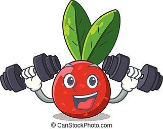 korb, yangmei, fruechte, karikatur, fitness