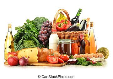 korbgeflecht, gemuese, lebensmittel, früchte, korb, ...