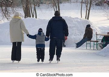 korcsolyázó, család, jégpálya