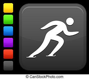 korcsolyázó, gombol, derékszögben, ikon, internet