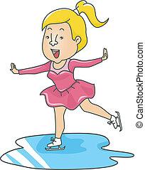 korcsolyázó, nő, jég