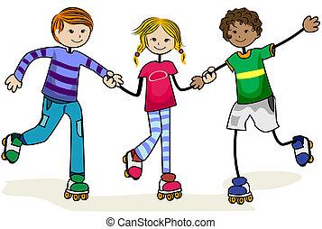 korcsolyázik, hajcsavaró, gyerekek