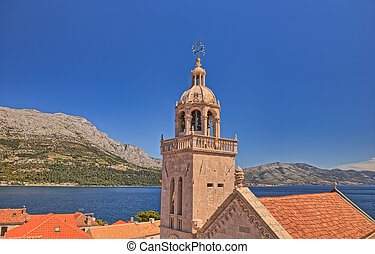 Korcula Old medieval town cathedral aerial shot