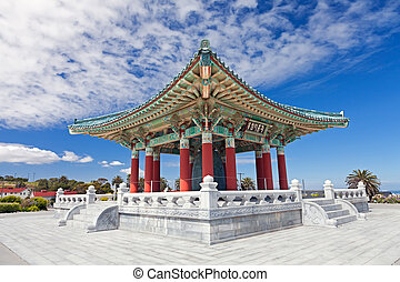 koreański, dzwon, od, przyjaźń, pagoda, w, san pedro