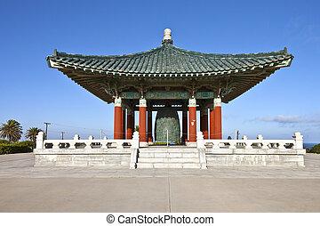 koreański, przyjaźń, dzwon, park, san pedro, california.