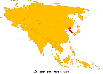 Korea - Asia - vector map of asia with country ans korean...