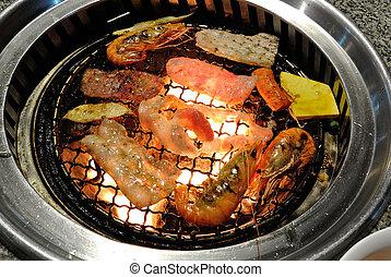 korea, barbecue, grill, mat.