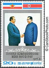 KOREA - CIRCA 1977: A stamp printed in Korea shows Kim...