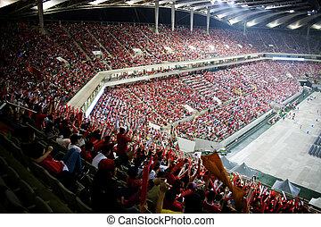 korea, crowd, becher, hurrarufen, stadion, welt, süden