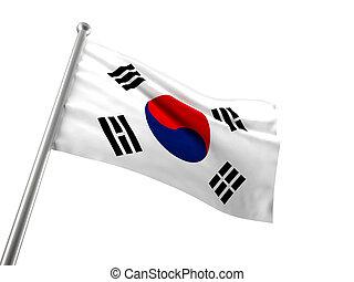 korea flag isolated on white