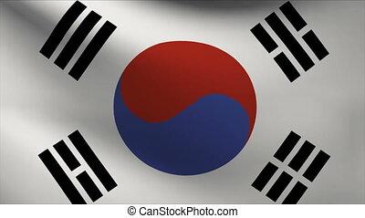 korea flag waving gently in wind