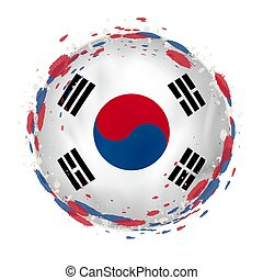 korea, grunge, color., bandera, plamy, okrągły, południe