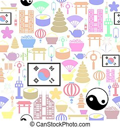 korea, icon., bakgrund, seamless, mönster