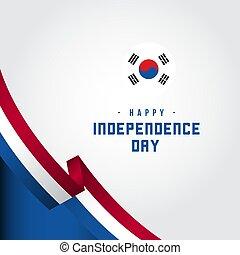korea, ilustracja, wektor, projektować, szablon, dzień, niezależność, szczęśliwy