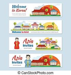 Korea, japan, thailand travel vector banners template set