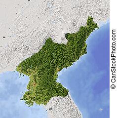 korea, kaart, gearceerd, noorden, verlichting