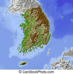 korea, karta, skuggat, lättnad, syd