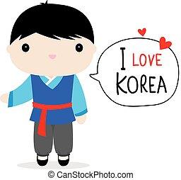 Korea Men National Dress Cartoon Vector