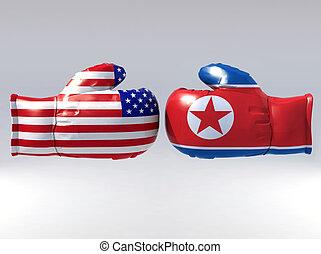 korea, północ, usa, boks, bandera, rękawiczki