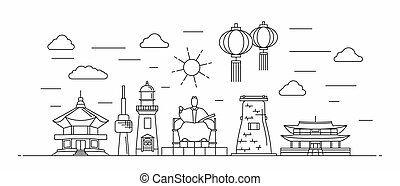 Korea panorama. South Korea vector illustration in outline style with buildings and city architecture. Welcome to Korea.