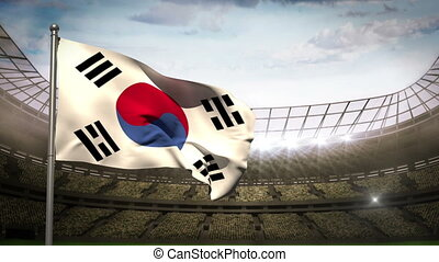Korea republic national flag in football stadium with...