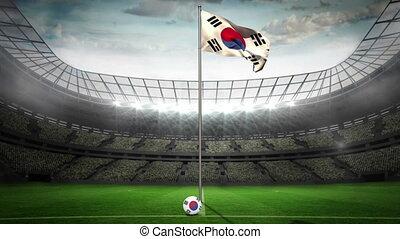 Korea Republic national flag waving on flagpole in football...