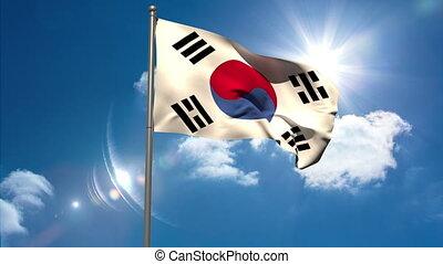 Korea republic national flag waving on flagpole on blue sky...