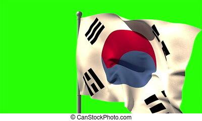 Korea republic national flag waving on flagpole on green...