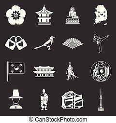 korea, sätta, ikonen, grå, vektor, syd