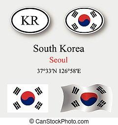 korea, sätta, syd, ikonen