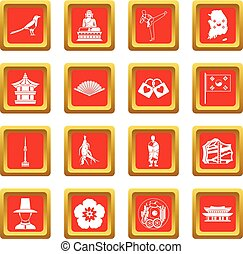 korea, sätta, syd, röd, ikonen