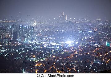 korea, seoul, -, nacht, zuiden, aanzicht