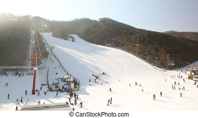 Korea Ski Slope 1 - 1) Video shot of a ski hill in Korea.