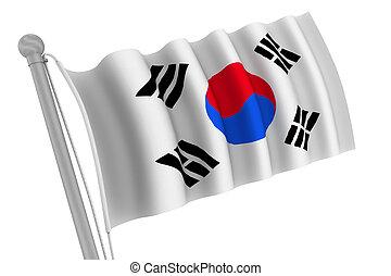 Korea South Flag on Pole
