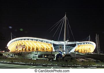 korea, sporten, complex, stadion, nacht, aanzicht