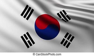 korea, tło, bandera, trzepotliwy, wielki, południe, wiatr