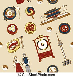 Korea travel concept background - lovely hand drawn travel...