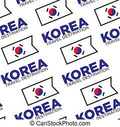Korea travel destination seamless pattern, Korean national flag