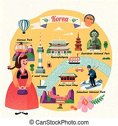 Korea travel illustration
