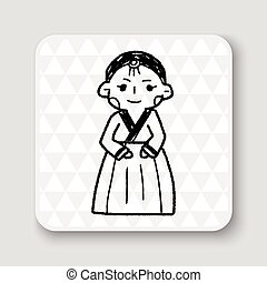 Korea woman doodle